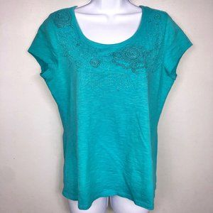 Coldwater Creek Top S 8 Teal Embroidered Boho HV47